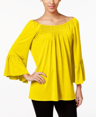 Cable & Gauge Off-The-Shoulder Peasant Top