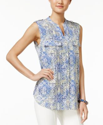 NY Collection Sleeveless Geometric-Print Utility Shirt