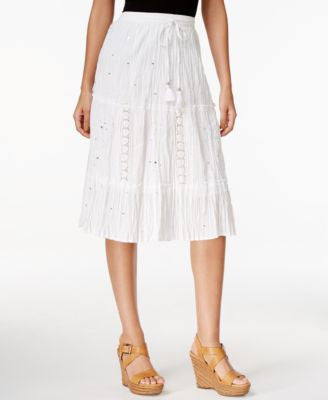 NY Collection Embroidered Sequined A-Line Skirt