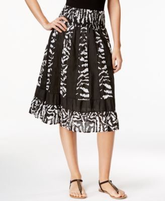 NY Collection Printed Pull-On A-Line Skirt