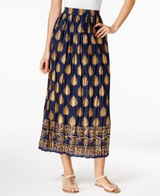 NY Collection Metallic-Print Maxi Skirt