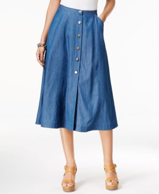 NY Collection Denim A-Line Skirt