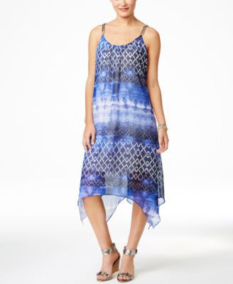 NY Collection Printed Handkerchief-Hem Maxi Dress