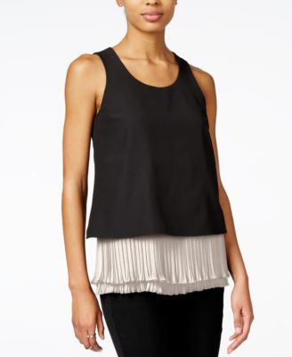 Bar III Sleeveless Contrast Pleated Top, Only at Vogily