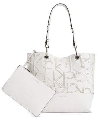 Calvin Klein Embossed Monogram Reversible Tote With Pouch
