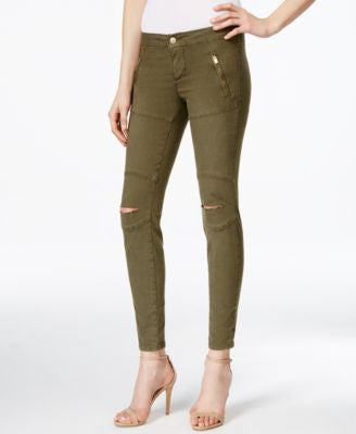 GUESS Athletic Ripped Forest Green Wash Jeggings
