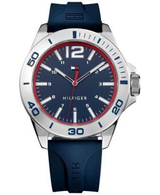 Tommy Hilfiger Men's Table Blue Silicone Strap Watch 45mm 1791261