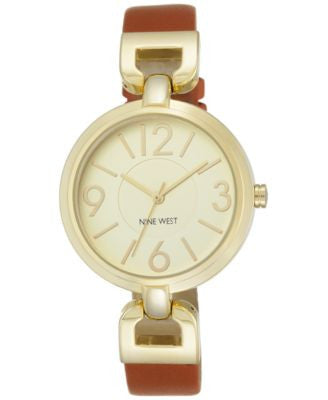 Nine West Women's Honey Leather Strap Watch 36mm NW/1778CHHY