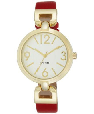 Nine West Women's Red Leather Strap Watch 36mm NW-1778WTRD