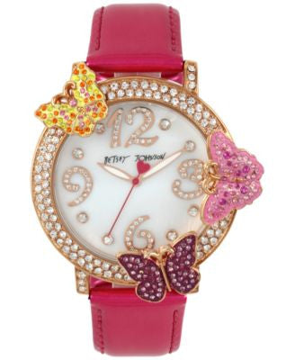 Betsey Johnson Women's Fuchsia Leather Strap Watch 44mm BJ00584-03