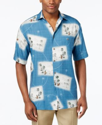 Campia Moda Men's Postcard Graphic-Print Short-Sleeve Shirt