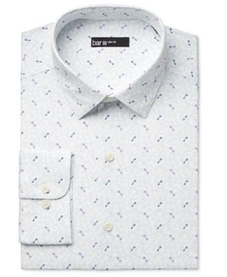Bar III Men's Slim-Fit Key-Print Dress Shirt, Only at Vogily