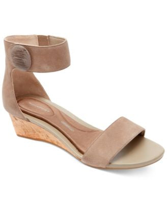 Rockport Women's Total Motion Stone Ankle-Strap Wedge Sandals