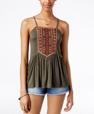 American Rag Embroidered Babydoll Tank Top, Only at Vogily