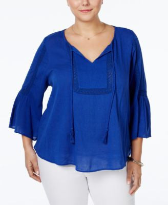 Jessica Simpson Plus Size Tabitha Textured Peasant Top