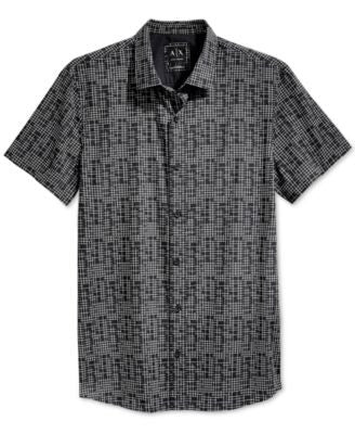 Armani Exchange Men's Grid Print Shirt