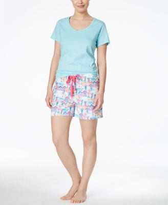 Charter Club V-Neck Top & Printed Boxer Shorts Sleep Separates, Only at Vogily