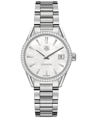 TAG Heuer Women's Swiss Carrera Diamond (5/8 ct. t.w.) Stainless Steel Bracelet Watch 32mm WAR1315.B