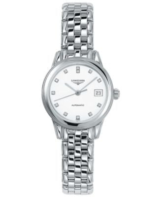Longines Watch, Women's Swiss Automatic Flagship Diamond Accent Stainless Steel Bracelet 26mm L42744