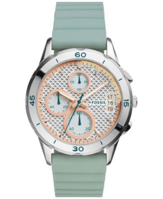Fossil Women's Chronograph Modern Pursuit Green Silicone Strap Watch 39mm ES4023