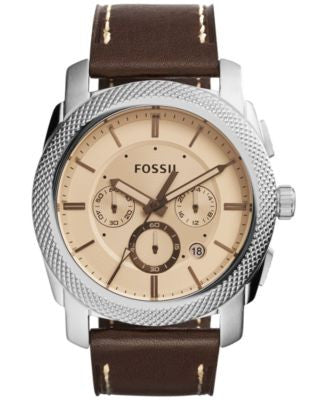 Fossil Men's Chronograph Machine Brown Leather Strap Watch 45mm FS5170