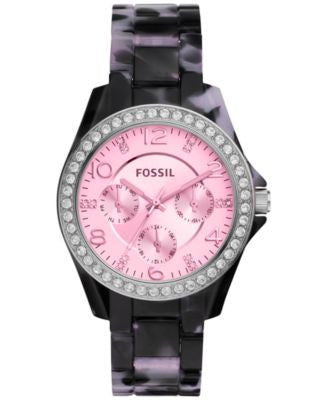 Fossil Women's Riley Black Tort Acetate Bracelet Watch 40mm ES4014