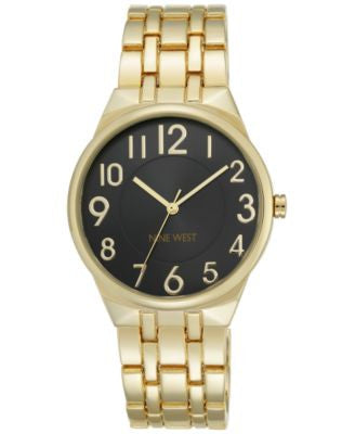 Nine West Women's Gold-Tone Stainless Steel Bracelet Watch 38mm NW/1756BKGB