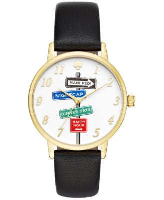 kate spade new york Women's Metro Black Leather Strap Watch 34mm KSW1128