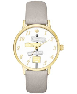 kate spade new york Women's Metro Clocktower Gray Leather Strap Watch 34mm KSW1126