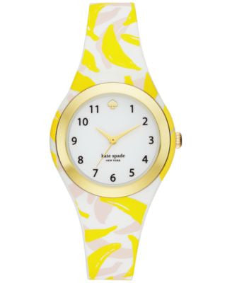 kate spade new york Women's Rumsey Banana Print Silicone Strap Watch 30mm KSW1125