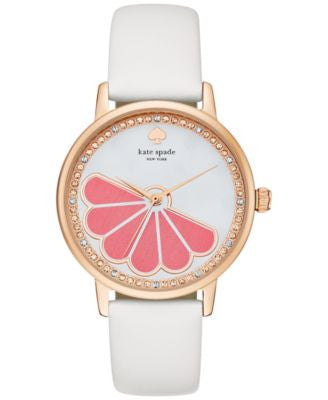kate spade new york Women's Metro White Leather Strap Watch 34mm KSW1121