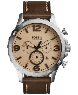 Fossil Men's Chronograph Nate Brown Leather Strap Watch 50mm JR1512