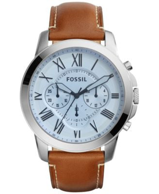 Fossil Men's Chronograph Grant Brown Leather Strap Watch 44mm FS5184
