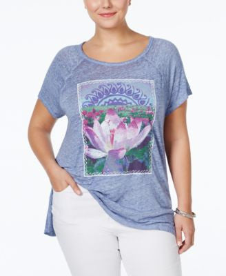 Lucky Brand Plus Size Lotus Graphic T-Shirt