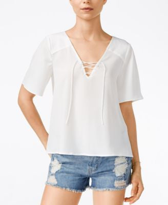 Sanctuary Kate Short-Sleeve Lace-Up Top