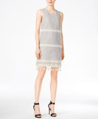 kensie Embroidered Fringe Shift Dress