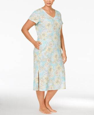 Miss Elaine Plus Size Floral-Print Nightgown