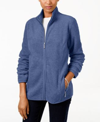 Karen Scott Petite Zip-Up Fleece Jacket, Only at Vogily