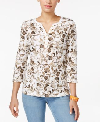 Karen Scott Petite Three-Quarter-Sleeve Printed Henley Top, Only at Vogily