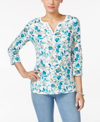 Karen Scott Printed Henley Top, Only at Vogily