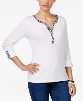 Karen Scott Petite Three-Quarter-Sleeve Henley Top, Only at Vogily