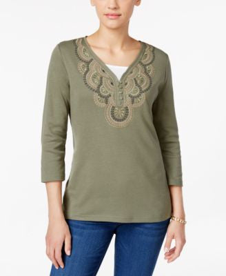 Karen Scott Petite Embroidered Three-Quarter-Sleeve Top, Only at Vogily
