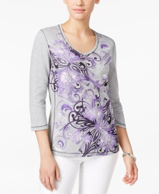 Karen Scott Printed Three-Quarter-Sleeve Top, Only at Vogily