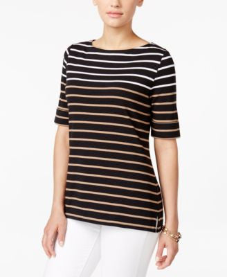 Karen Scott Petite Boat-Neck Striped Top, Only at Vogily