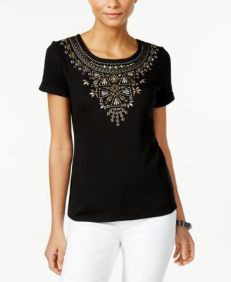Karen Scott Embroidered T-Shirt, Only at Vogily