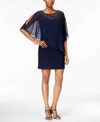 Xscape Beaded Cape Overlay Dress