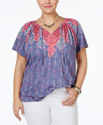 Lucky Brand Plus Size Pleated Printed Peasant Top