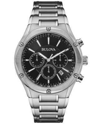 Bulova Men's Chronograph Stainless Steel Bracelet Watch 43mm 96B247