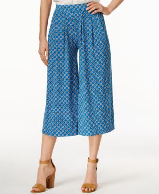 CeCe Printed Wide-Leg Cropped Pants