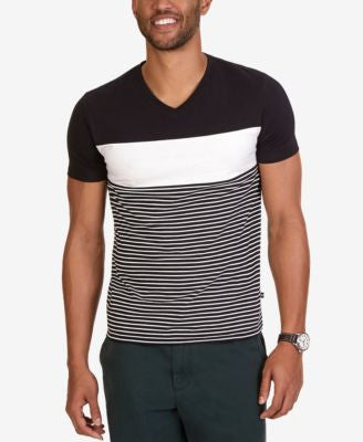Nautica Men's Slim-Fit Pieced Stripe V-Neck T-Shirt